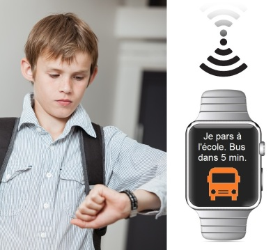 Schoolboy wearing a backpack checking his wristwatch for the time as he waits for his lift to school to ensure he is not late