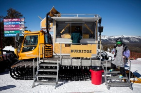 The Roving Mammoth snowcat serves up mid-mountain burritos on Mammoth Mountain, Calif., January 28, 2011.